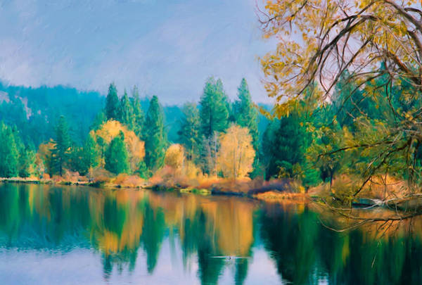Digital Art - Autumn On Sandy Pond by Mick Burkey