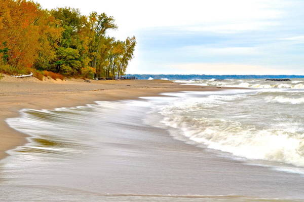 Whitecaps Photograph - Autumn On The Beach by Frozen in Time Fine Art Photography