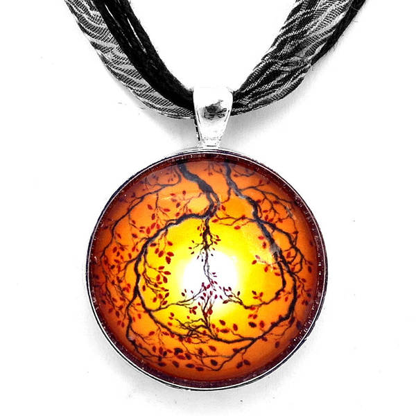 Wall Art - Jewelry - Autumn Peace Handmade Pendant by Laura Iverson
