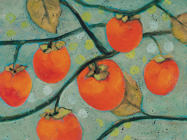 Persimmon Painting - Autumn Persimmons by Jen Norton