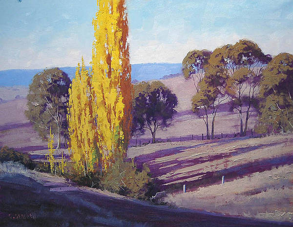 Farmland Wall Art - Painting - Autumn Poplars by Graham Gercken