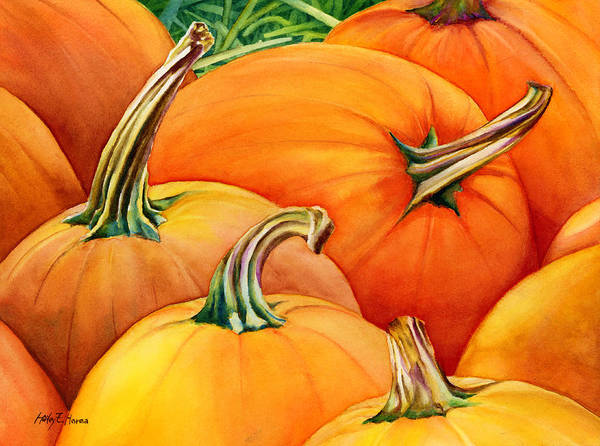 Pumpkins Wall Art - Painting - Autumn Pumpkins by Hailey E Herrera