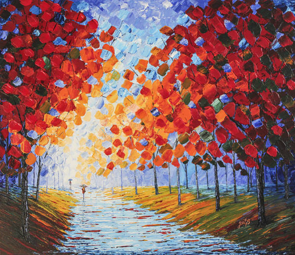 Painting - Autumn Rainy Evening Original Palette Knife Painting by Georgeta Blanaru