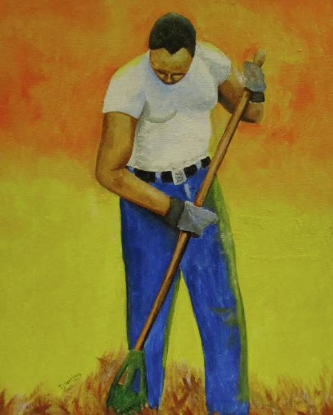 Painting - Autumn Raking by Thomas J Herring