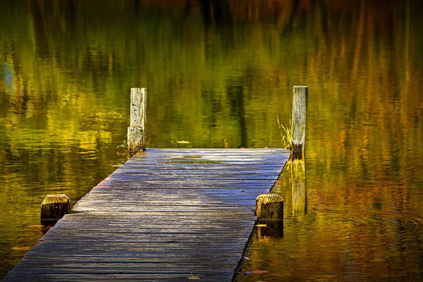 Photograph - Autumn Reflections And Boat Dock On A Pond Near Yankee Springs Michigan by Randall Nyhof