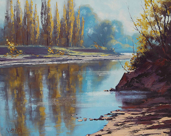 Poplar Painting - Autumn Reflections Tumut River by Graham Gercken