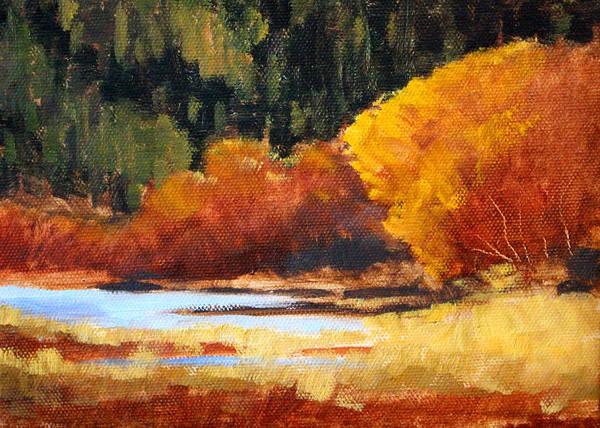 Central Oregon Wall Art - Painting - Autumn Riverside by Nancy Merkle