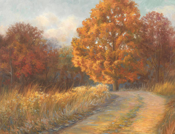 Massachusetts Painting - Autumn Road by Lucie Bilodeau