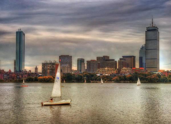Photograph - Autumn Sail On The Charles River - Boston by Joann Vitali
