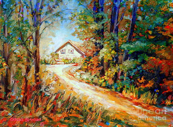 Painting - Autumn Scene Quebec Secluded Cabin Edge Of The Woods by Carole Spandau