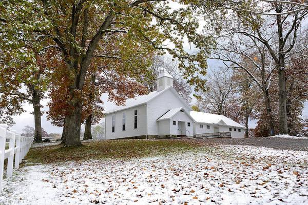 Autumn Snow And Country Church Art Print