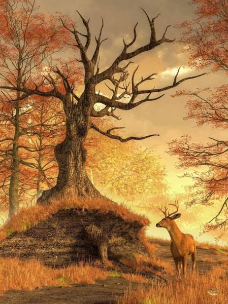 Digital Art - Autumn Stag by Daniel Eskridge
