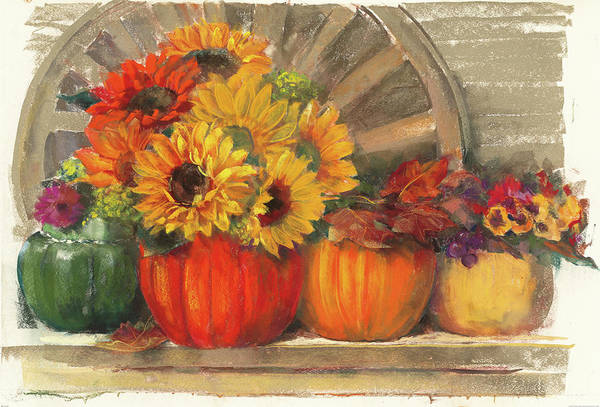 Red Wagon Painting - Autumn Still Life by Carol Rowan