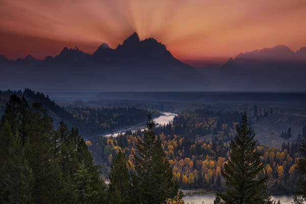 Teton Mountain Range Photograph - Autumn Sunset At The Snake River Overlook by Andrew Soundarajan