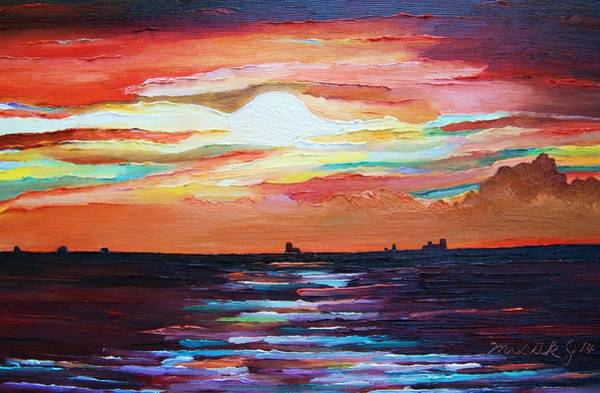 Baltic Sea Painting - Autumn Sunset On The Baltic Sea by Misuk Jenkins