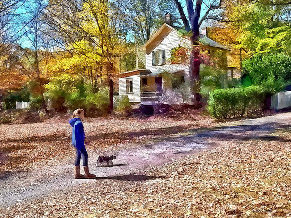 Photograph - Autumn - Walking The Dog by Susan Savad