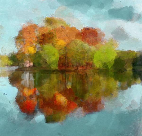 Daylight Digital Art - Autumn Water Reflection by Yury Malkov