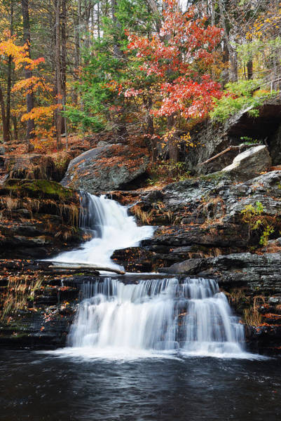Photograph - Autumn Waterfall In Mountain by Songquan Deng