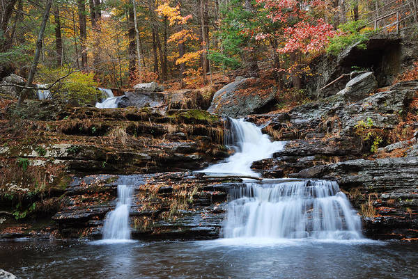 Photograph - Autumn Waterfall In Mountain With Foliage by Songquan Deng