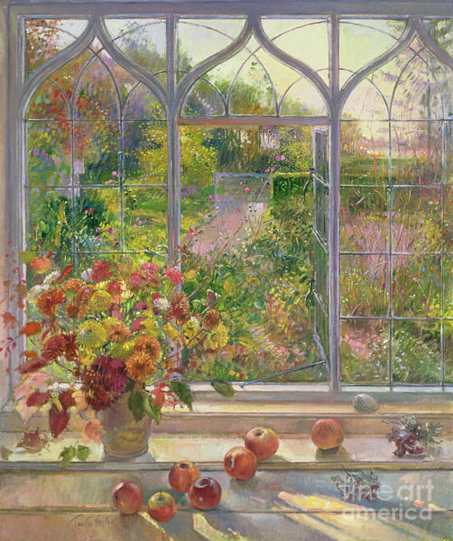 Window Frame Painting - Autumn Windows by Timothy  Easton