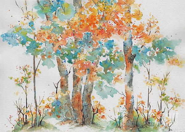 Painting - Autumn Woods Deep Woods by Pat Katz