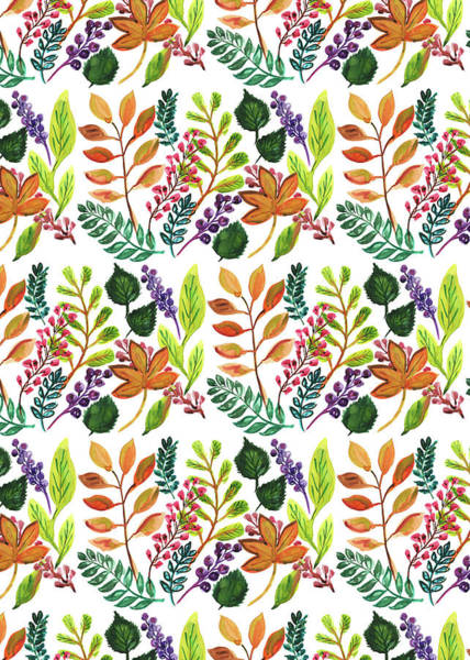 Wall Art - Painting - Autumnal Print Multi Leaves And Berries Mixed.jpg by MGL Meiklejohn Graphics Licensing