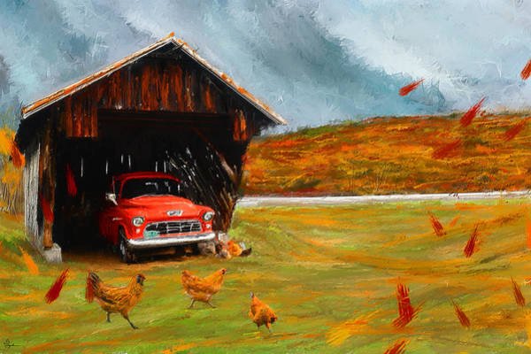 Painting - Autumnal Restful View-farm Scene Paintings by Lourry Legarde