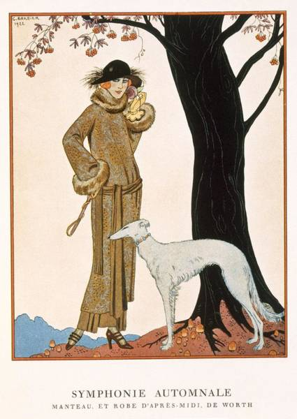 Campaign Painting - Autumnal Symphony Afternoon Coat And Dress By Worth by Georges Barbier