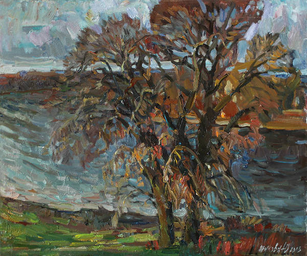 Russian Impressionism Wall Art - Painting - Autumnal Tree By The River by Juliya Zhukova