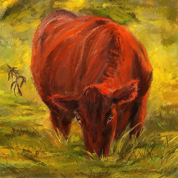 Painting - Autumn's Afternoon - Cow Painting by Lourry Legarde