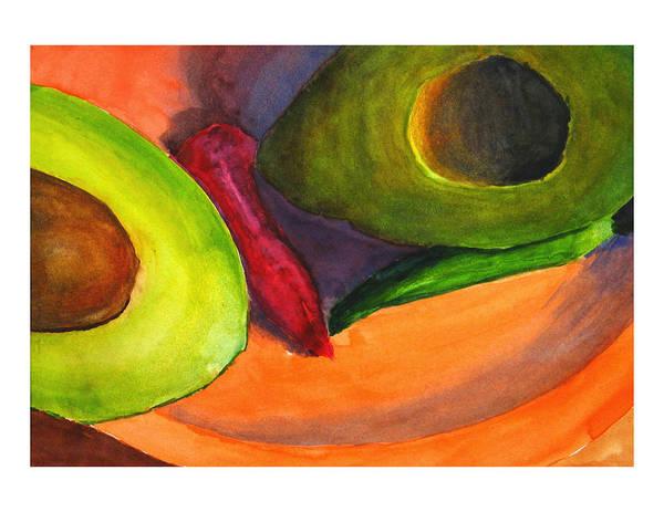 Painting - Avacado Pepper Plate by Peter Senesac