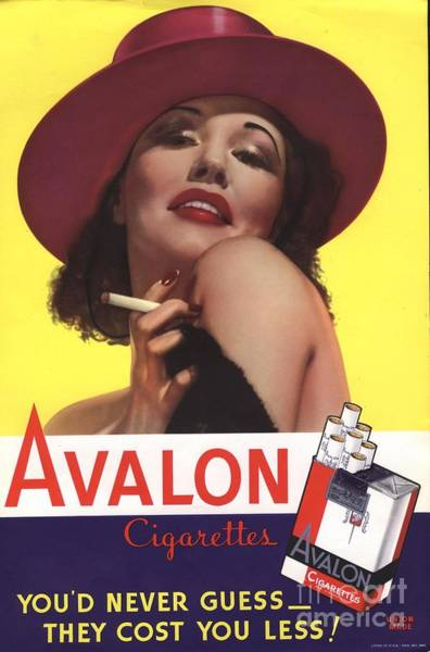 Nineteen-thirties Wall Art - Drawing - Avalon 1930s Usa Glamour Cigarettes by The Advertising Archives