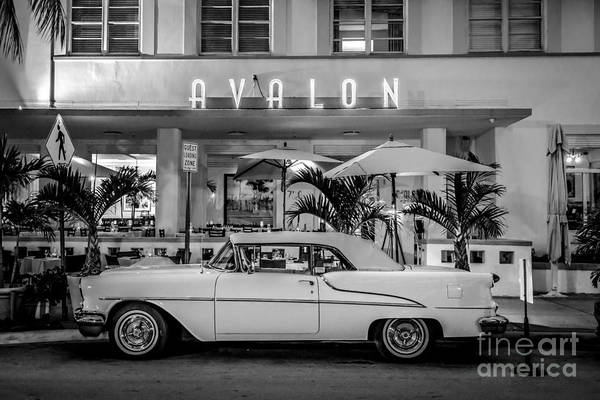 1920s Photograph - Avalon Hotel And Oldsmobile 88 - South Beach - Miami - Black And White by Ian Monk
