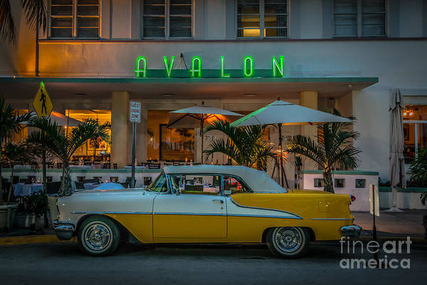 Wall Art - Photograph - Avalon Hotel And Oldsmobile 88 - South Beach - Miami - Hdr Style by Ian Monk