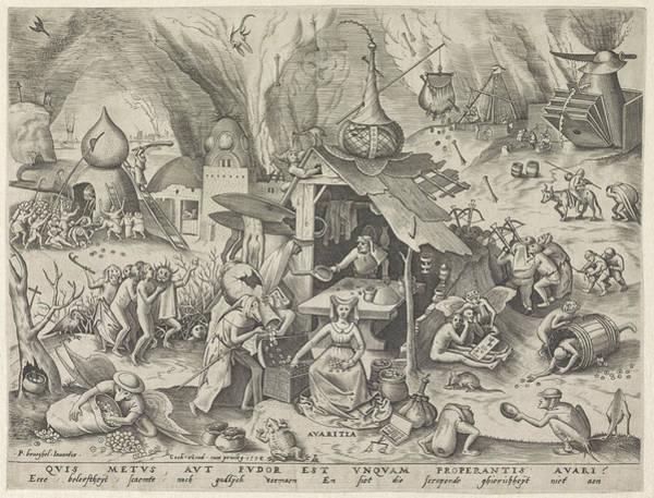 Wall Art - Drawing - Avarice, Pieter Van Der Heyden, Hieronymus Cock by Pieter Van Der Heyden And Hieronymus Cock