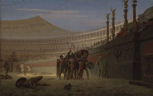 Arena Painting - Ave Caesar Morituri Te Salutant , 1859 by Jean Leon Gerome
