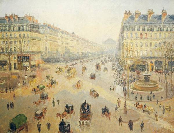 Traffic Painting - Avenue De L'opera In Paris by Camille Pissarro
