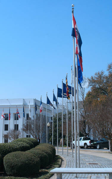 Photograph - Avenue Of Flags Al State Capitol by Lesa Fine