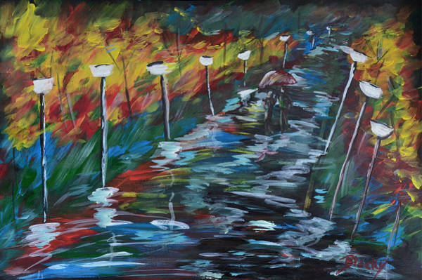 Night Walk Painting - Avenue Of Shadows by Donna Blackhall