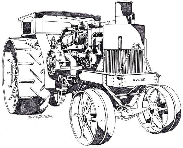 Old Tractor Drawing - Avery 40-80 by David Fuller