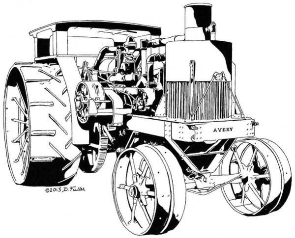 Old Tractor Drawing - Avery 40-80 Pen by David Fuller