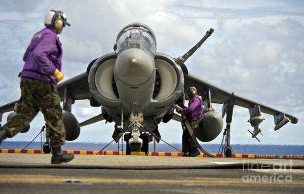 Flight Deck Photograph - Aviation Boatswains Mates Refuel An by Stocktrek Images