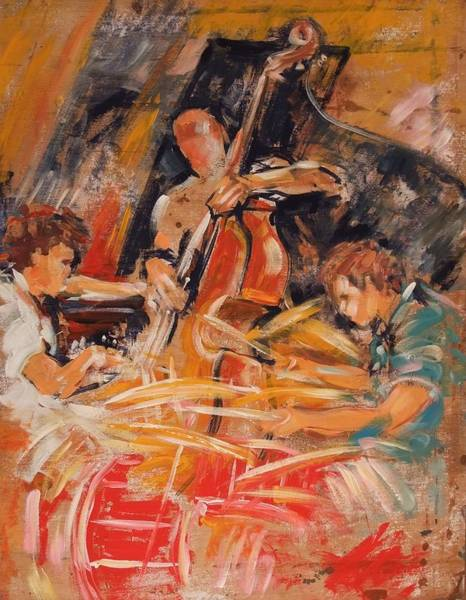 Bass Guitar Painting - Avishai Cohen Trio by Jeni Caruana