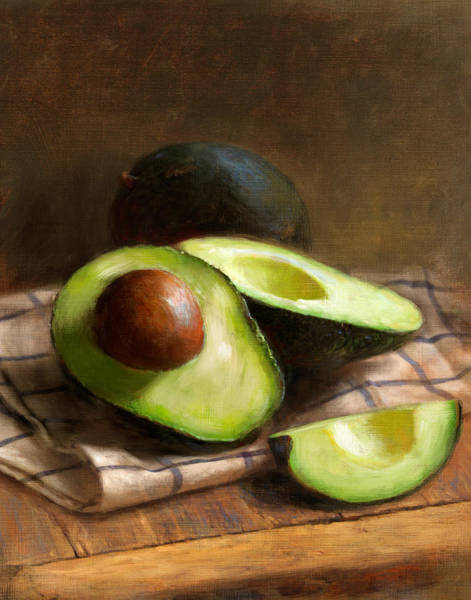 Still Life Wall Art - Painting - Avocados by Robert Papp