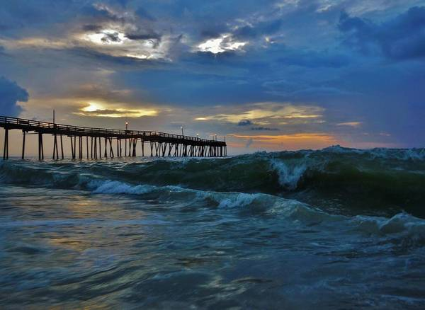 Standup Paddleboard Photograph - Avon Pier Sunrise Storm Wave 6/12/2014 by Mark Lemmon