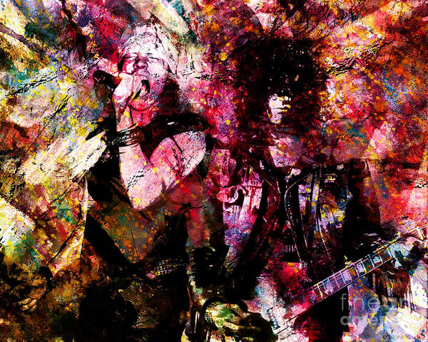 Guns And Roses Painting - Axl And Slash - Appetite For Your Illusion by Ryan Rock Artist