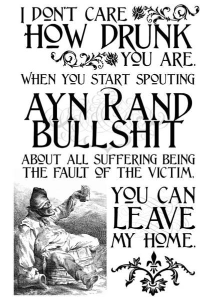 Ayn Rand Bullshit Art Print