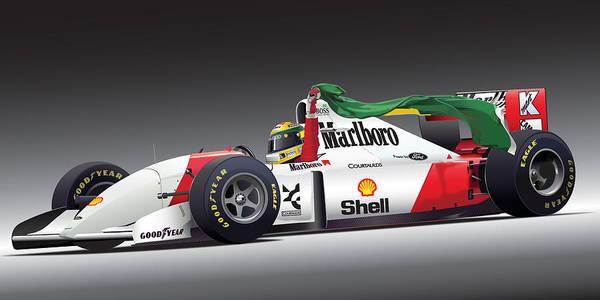 Formula One Digital Art - Ayrton Senna Da Silva Art by Alain Jamar