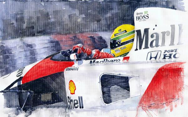 Wall Art - Painting - Ayrton Senna Mclaren 1991 Hungarian Gp by Yuriy Shevchuk