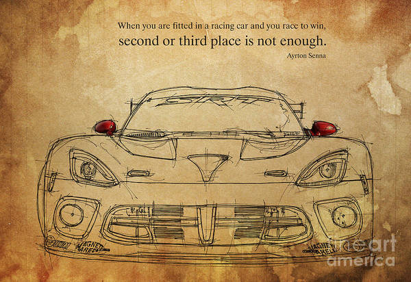 Ayrton Senna Wall Art - Drawing - Ayrton Senna Quote by Drawspots Illustrations